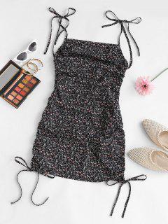 ZAFUL FloraL Print Tie Strap Cinched Backless Mini Dress - Black M