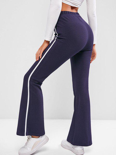 women ZAFUL Tape Side High Waisted Bootcut Pants - DARK SLATE BLUE M Mobile