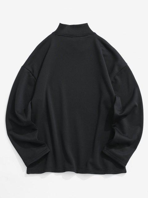 chic Ambitious Print Drop Shoulder Sweatshirt - BLACK L Mobile