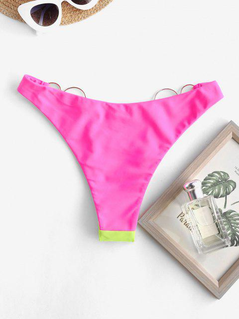 outfits ZAFUL Two Tone O-ring Neon Bikini Bottom - NEON PINK S Mobile