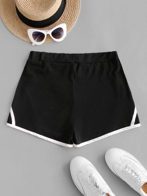 outfit Contrast Binding Trim Pull On Shorts - BLACK S Mobile