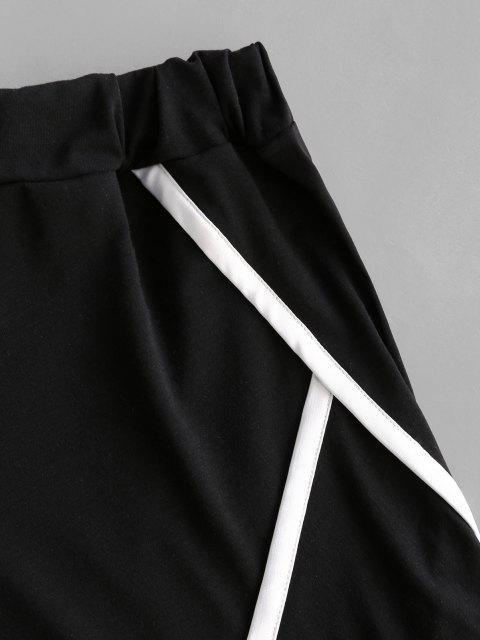 sale Contrast Binding Trim Pull On Shorts - BLACK L Mobile