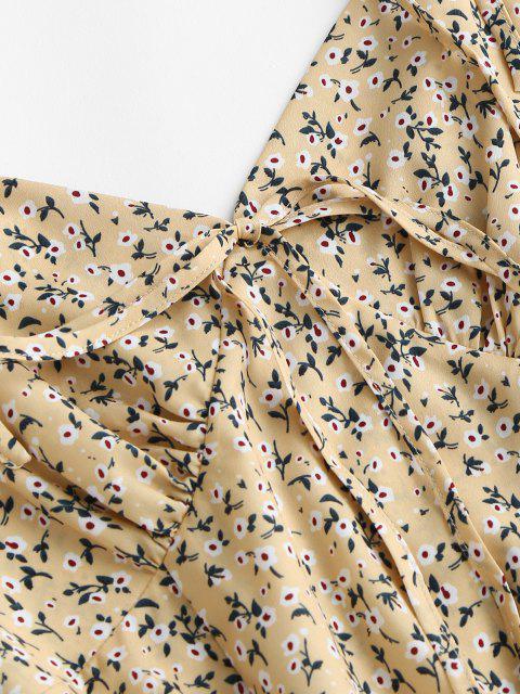 Robe Fleurie à Epaule Nouée à Bretelle - Jaune clair L Mobile