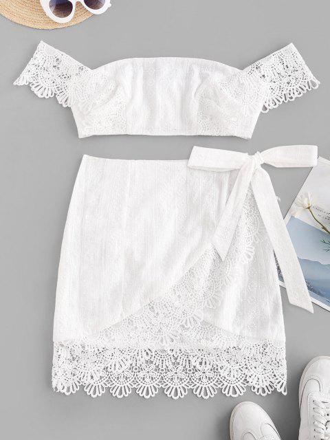ZAFUL Conjunto de Saia A e Top Bordado com Enlaçado - Branco S Mobile