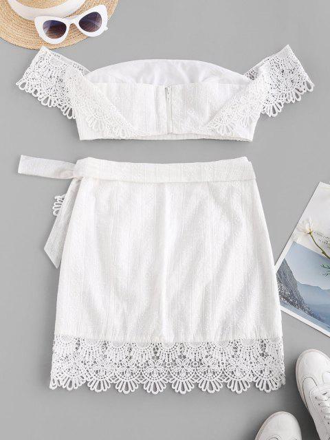best ZAFUL Off Shoulder Embroidered Guipure Lace Panel Top and Wrap Skirt Set - WHITE M Mobile