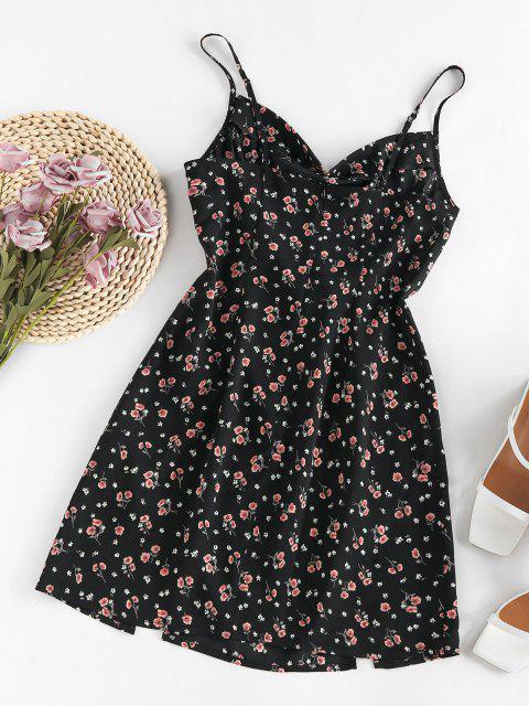 unique ZAFUL Floral Cowl Front M Slit Mini Dress - BLACK L Mobile