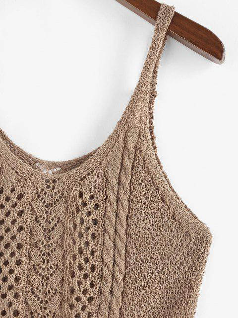 affordable ZAFUL Solid Cable Pointelle Knit Plus Size Sweater Vest - COFFEE L Mobile