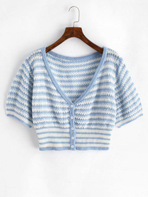 outfits ZAFUL Plus Size Striped Button Up Cropped Cardigan - MULTI L Mobile