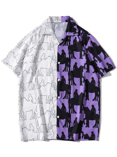 Farbblock Muster Patchwork Retro Kurzärmliges Hemd - Lila Iris XXL Mobile