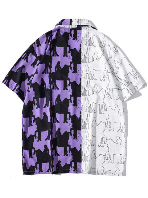 sale Colorblock Pattern Patchwork Vintage Short Sleeve Shirt - PURPLE IRIS XL Mobile