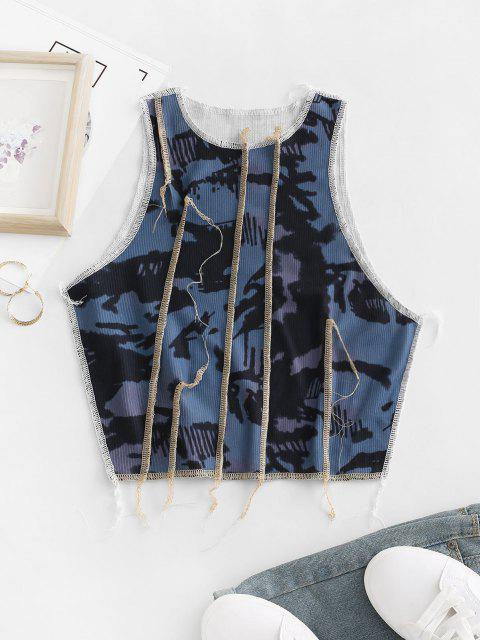 outfits Ribbed Tie Dye Topstitching Tank Top - MULTI M Mobile