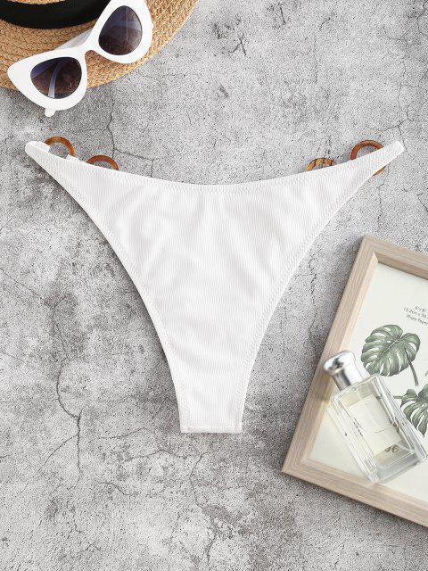 chic ZAFUL O-ring Ribbed Cheeky Bikini Bottom - WHITE S Mobile