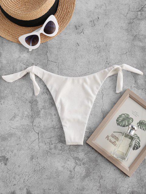 womens ZAFUL Tie Knot Ribbed Bikini Bottom - WHITE S Mobile