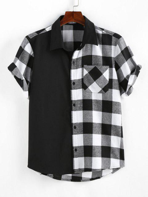 ZAFUL Plaid Printed Button Up Pocket Shirt - أسود L Mobile
