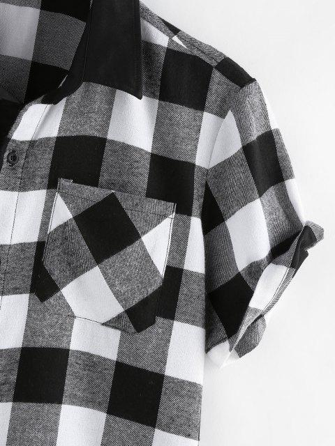 outfit ZAFUL Plaid Printed Button Up Pocket Shirt - BLACK L Mobile