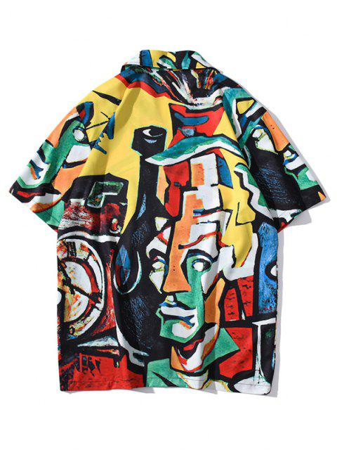 Short Sleeve Graffiti Allover Shirt - بني ذهبي XXL Mobile