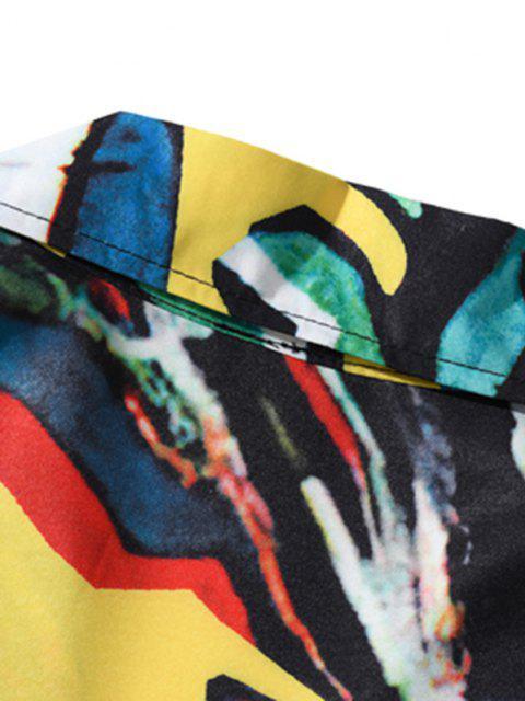 latest Short Sleeve Graffiti Allover Shirt - GOLDEN BROWN XXL Mobile