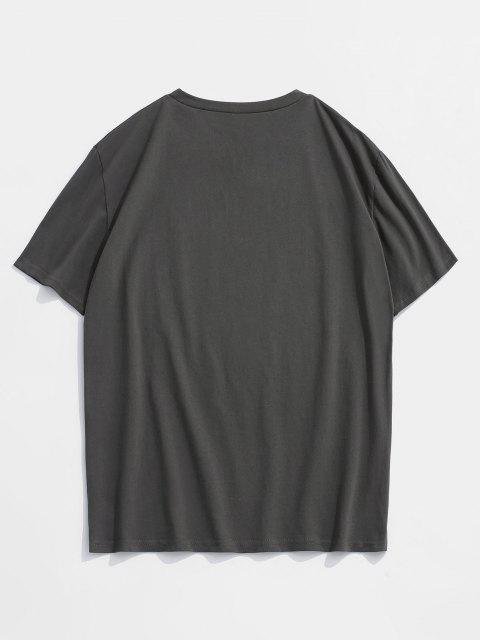 trendy Hand Rose Short Sleeve Basic T-shirt - DARK GRAY 2XL Mobile