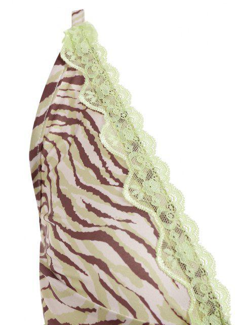 ZAFUL Haut Zèbre Imprimé en Dentelle Insérée avec Nœud Papillon - Vert XL Mobile