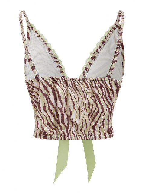 ZAFUL Zebra Print Lace Insert Bowknot Bralette Top - أخضر S Mobile