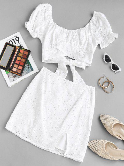 hot ZAFUL Broderie Anglaise Puff Sleeve Two Piece Skirt Set - WHITE M Mobile