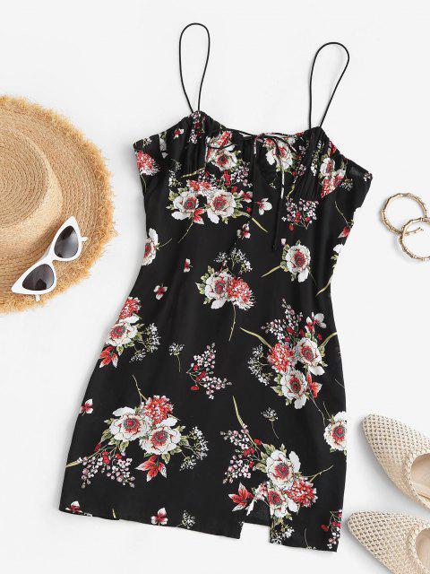 ZAFUL Bodycon Minikleid mit Blumen Krawatte und Spaghettibügel - Schwarz M Mobile