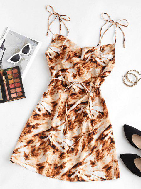 ZAFUL Krawattenfärbendes Wasserfallausschnitt Gebundenes Gurt Cami Kleid - Kaffee M Mobile