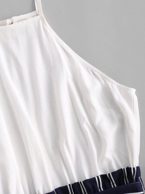 trendy ZAFUL Keyhole Back Stripes Panel Belted Romper - DEEP BLUE M Mobile