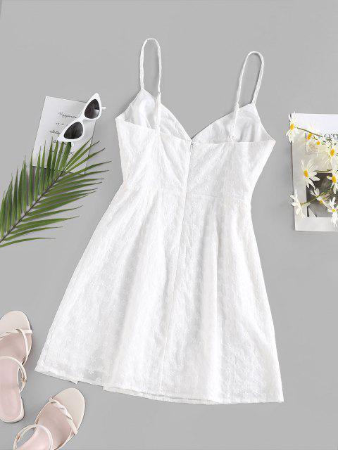 ZAFUL Gesticktes Geschlitztes Minikleid - Weiß M Mobile
