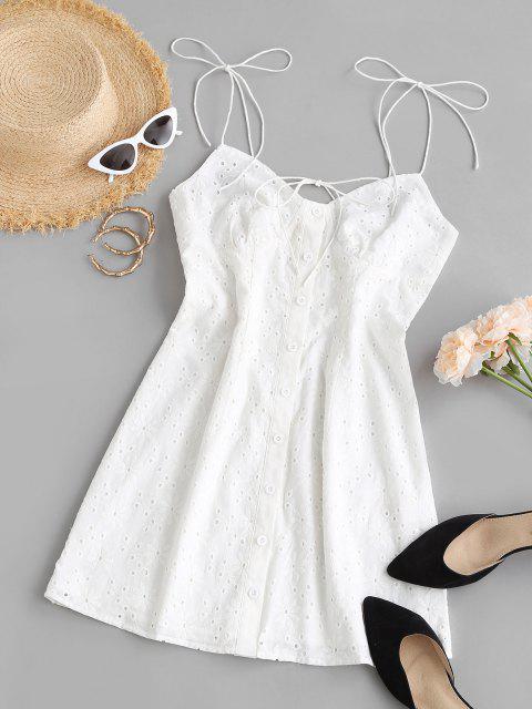 ZAFUL Gebundenes Knopf Broderie Anglaise Schulter Kleid - Weiß M Mobile