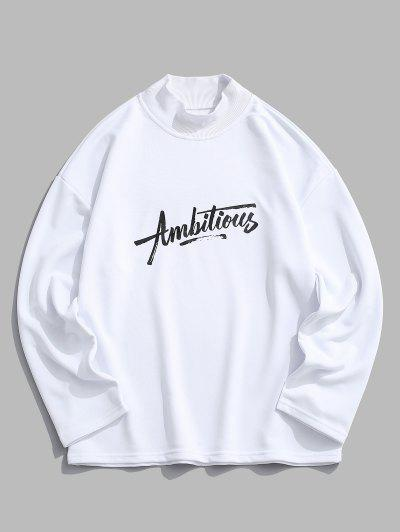 Ambitious Print Drop Shoulder Sweatshirt - Milk White L