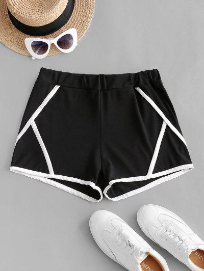 Contrast Binding Trim Pull On Shorts - Black M