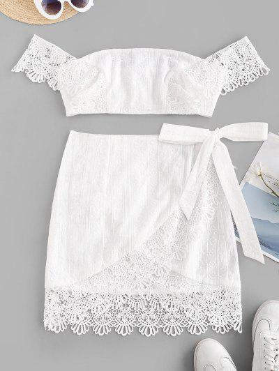 ZAFUL Off Shoulder Embroidered Guipure Lace Panel Top And Wrap Skirt Set - White S