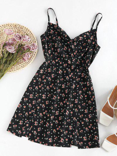 ZAFUL Mini Vestido Floral Corte Frontal - Negro M