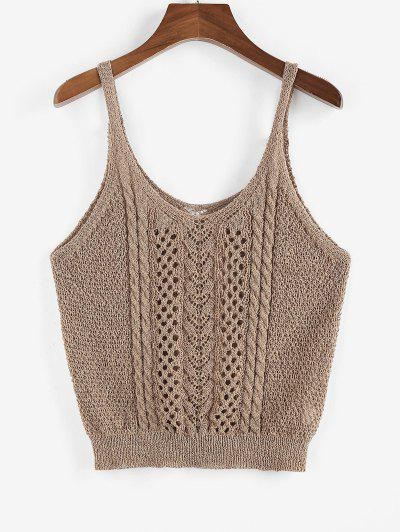 ZAFUL Solid Cable Pointelle Knit Plus Size Sweater Vest - Coffee L