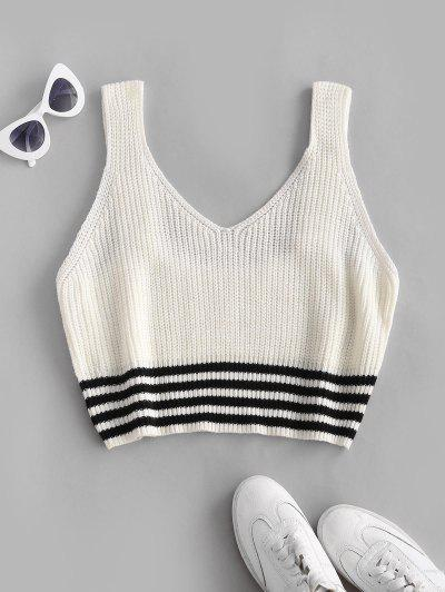 ZAFUL Plus Size Striped Hem Sweater Vest - White 2xl