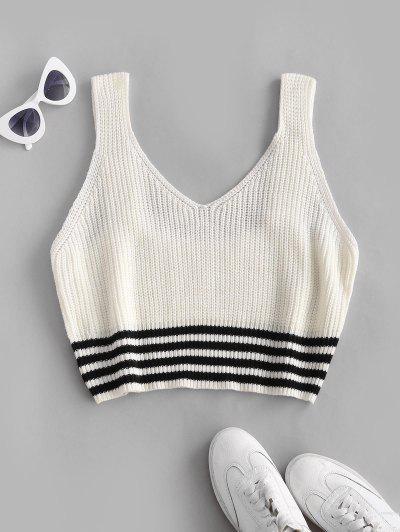 ZAFUL Plus Size Striped Hem Sweater Vest - White 3xl