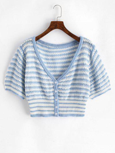 ZAFUL Plus Size Striped Button Up Cropped Cardigan - Multi 2xl