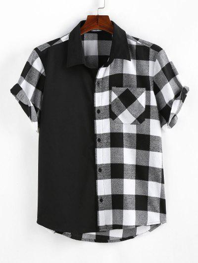 ZAFUL Plaid Printed Button Up Pocket Shirt - Black L
