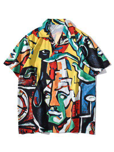 Short Sleeve Graffiti Allover Shirt - Golden Brown Xl