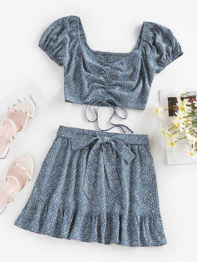 ZAFUL Ditsy Print Cinched Flounce Tie Two Piece Skirt Set - Light Blue M