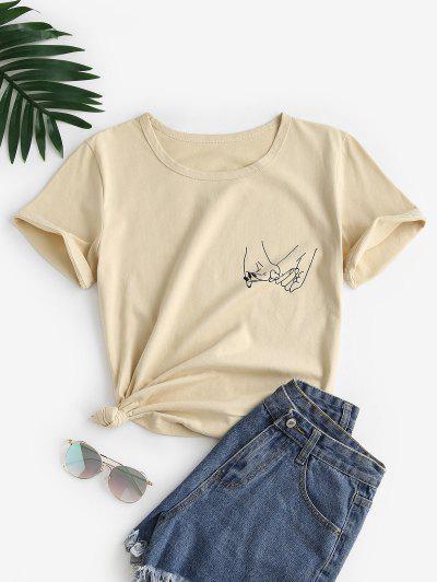 Hände Muster Kurzarm T-Shirt - Licht Kaffee S