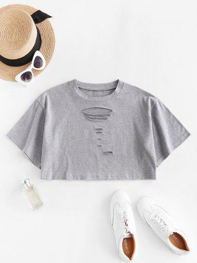 Ripped Drop Shoulder Crop Tee - Light Gray S