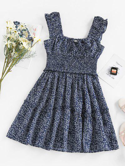 ZAFUL Ditsy Print Keyhole Smocked Ruffle Tiered Dress - Blue L