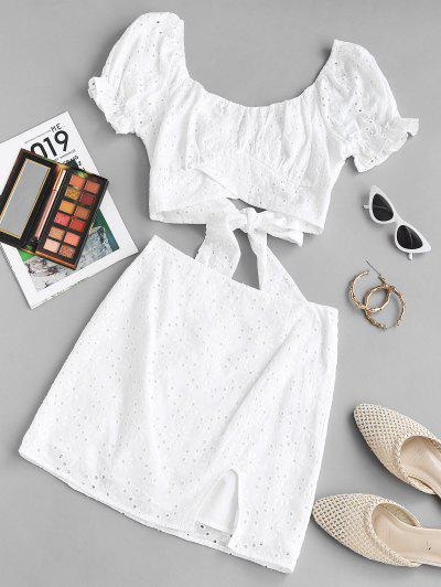 ZAFUL Broderie Anglaise Puff Sleeve Two Piece Skirt Set - White M