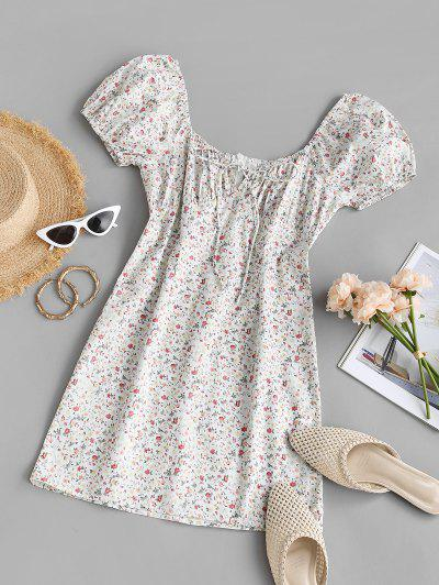 ZAFUL Ditsy Print Tie Sheath Milkmaid Dress - White S