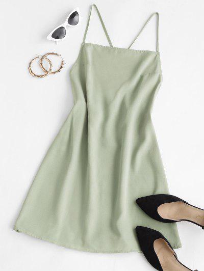 ZAFUL Criss Cross Tied Backless Cami Dress - Light Green S