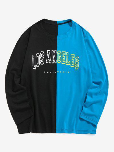 ZAFUL LOS Angeles Zwei Ton Langarm T-Shirt - Multi Xl