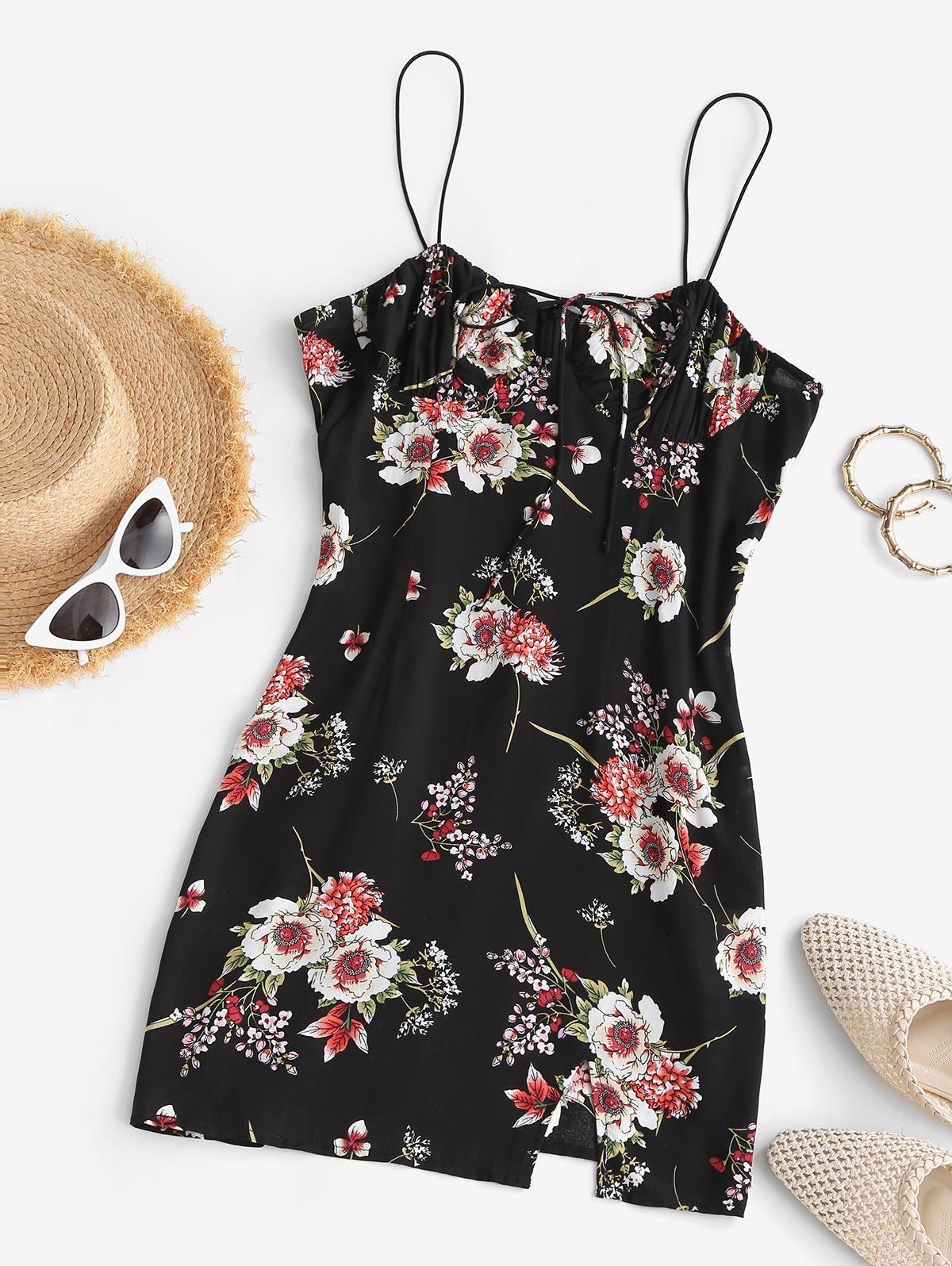 ZAFUL Floral Print Tie Front Spaghetti Strap Bodycon Mini Dress