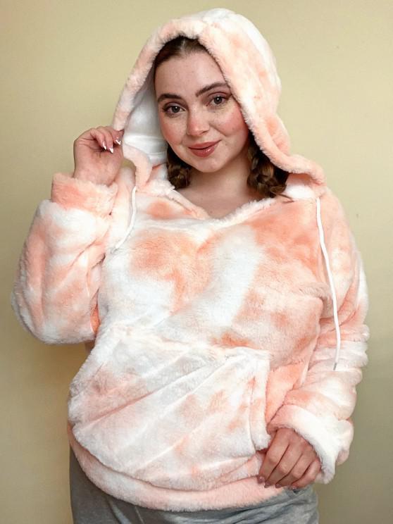 trendy Plus Size Tie Dye Fluffy Faux Fur Front Pocket Hoodie - LIGHT ORANGE L
